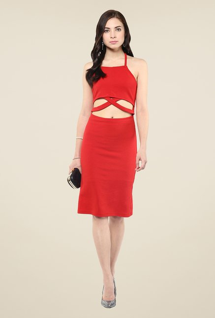 Yepme Red Cut Out Solid Bodycon Dress