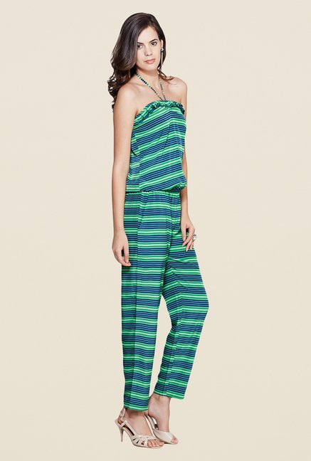 Yepme Elisha Green & Blue Striped Jumpsuit