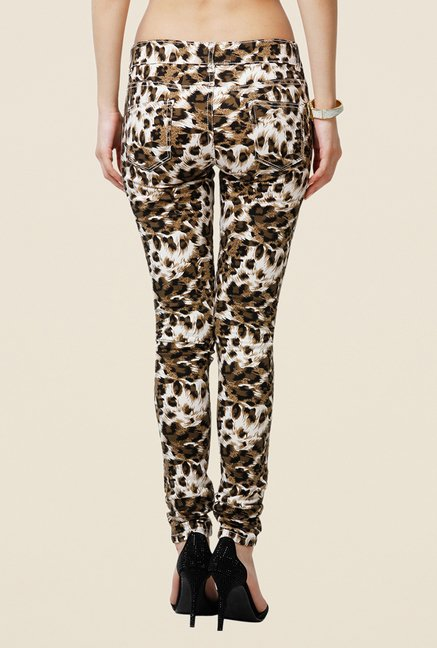 Yepme Estella Brown Animal Print Chinos