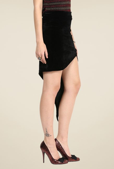 Yepme Hellen Black Solid Party Skirt