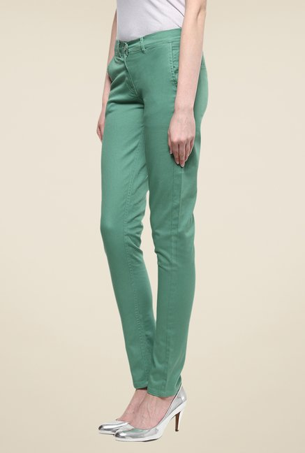 Yepme Rowee Green Solid Chinos