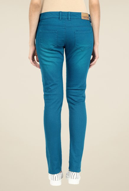 Yepme Stella Teal Solid Drill Chinos