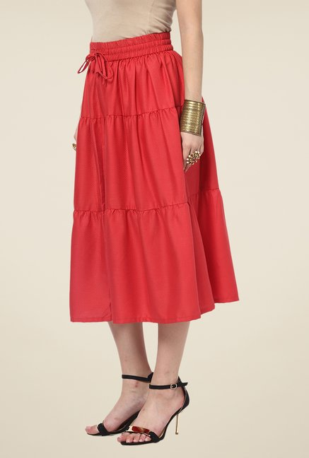 Yepme Emma Red Solid Midi Skirt