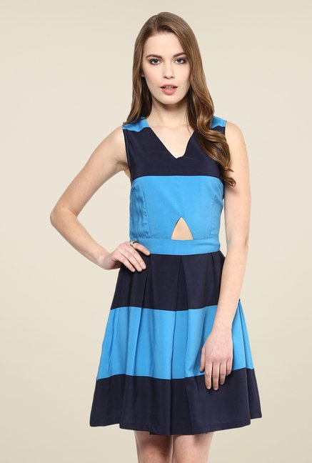 Yepme Blue& Navy Ebony Striped Skater Dress