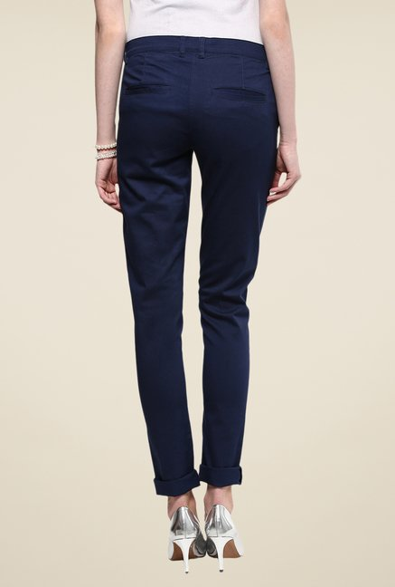 Yepme Rowee Navy Solid Chinos