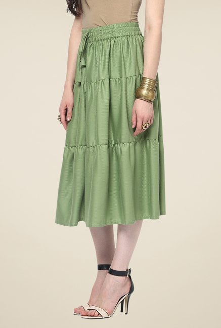 Yepme Emma Green Solid Midi Skirt