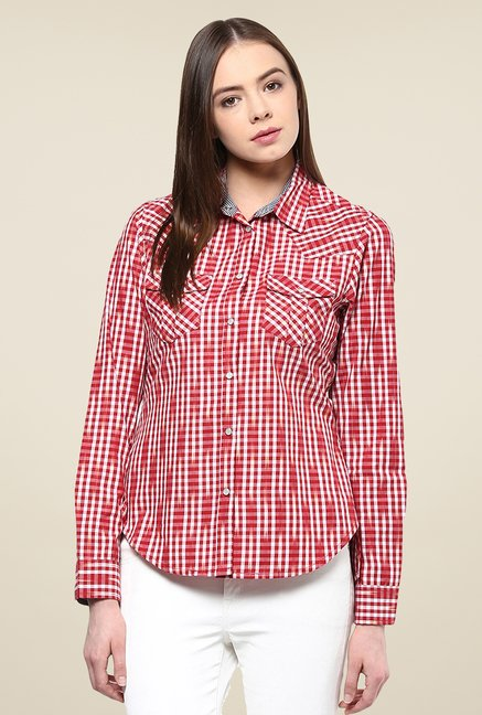Yepme Red Derica Checks Shirt
