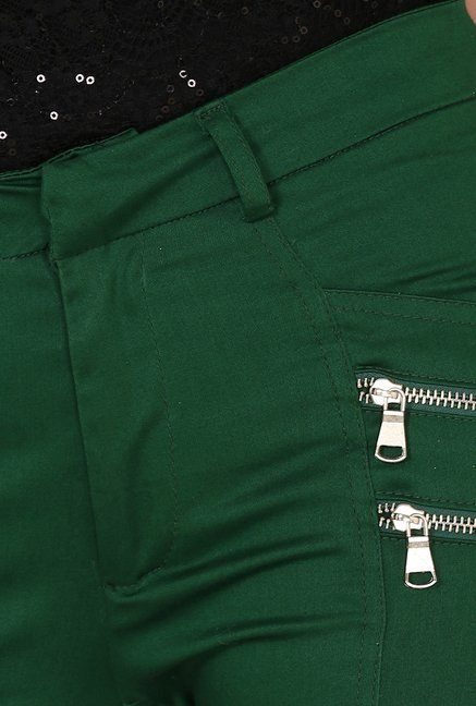Yepme Chaviva Green Solid Party Chinos