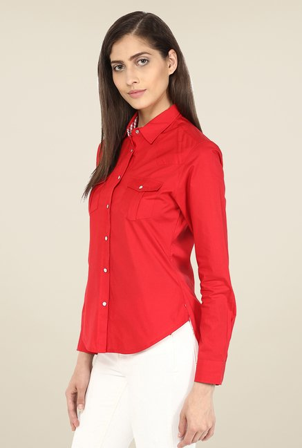 Yepme Red Derica Solid Shirt