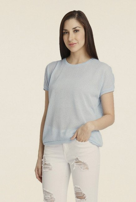 Vero Moda Light Blue Solid Polyester Top