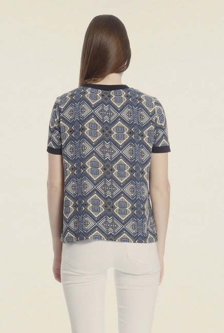 Vero Moda Blue Printed Viscose T-shirt