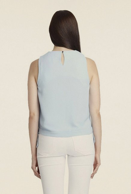 Vero Moda Light Blue Solid Sleeveless Top