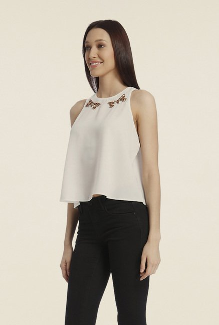 Vero Moda Off White Solid Top