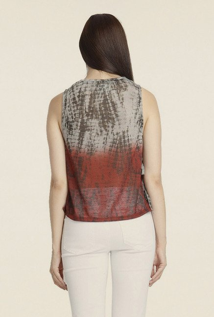 Vero Moda Grey & Maroon Printed Top