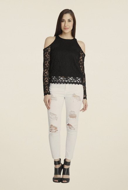 Vero Moda Black Lace Full-sleeved Top
