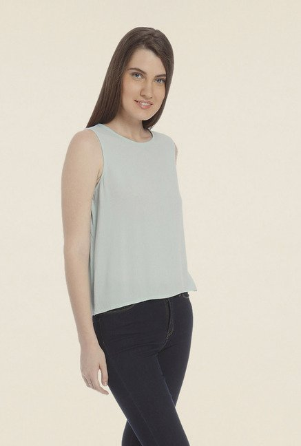 Vero Moda Light Blue Solid T-shirt