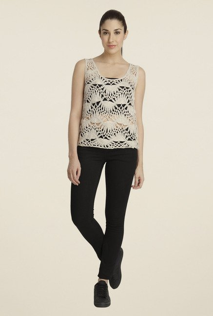 Vero Moda Beige Lace Top