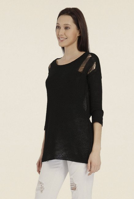 Vero Moda Black Solid Acrylic Top