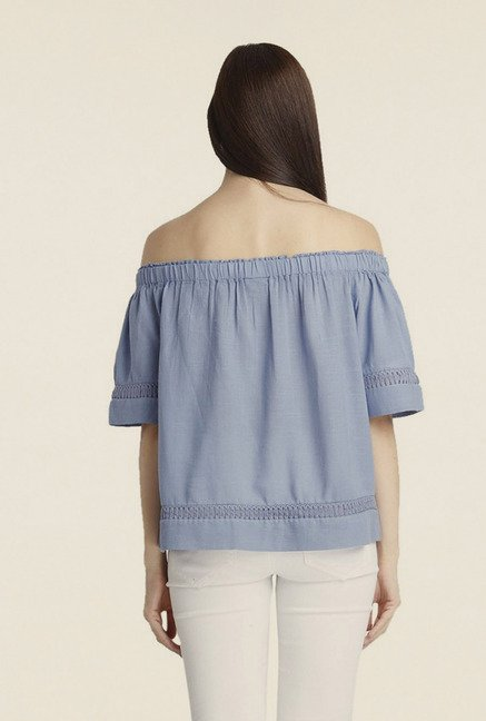 Vero Moda Light Blue Solid Off-shoulder Top