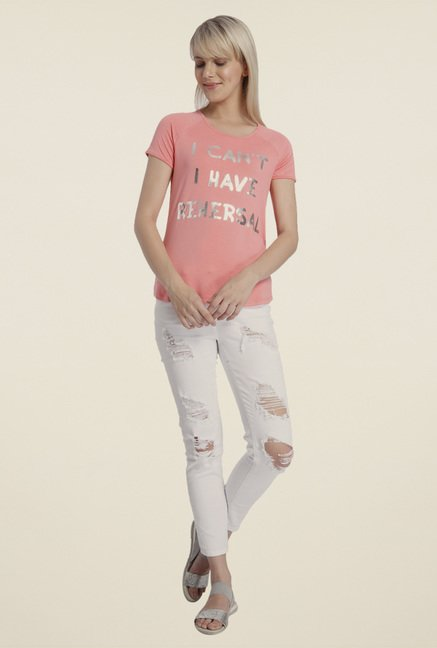 Vero Moda Peach Printed Top
