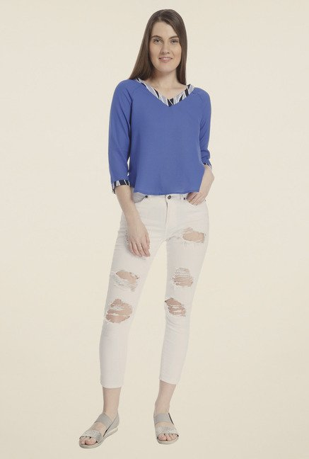 Vero Moda Royal Blue Solid Top