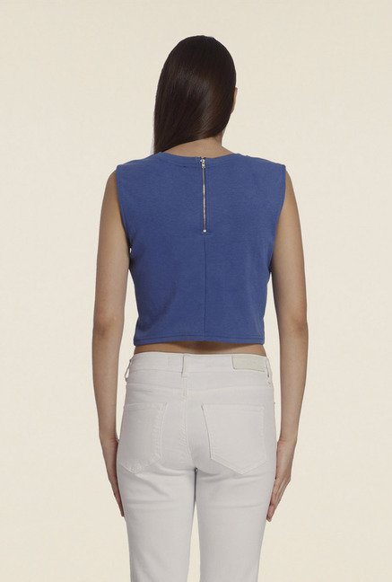 Vero Moda Blue Solid T Shirt