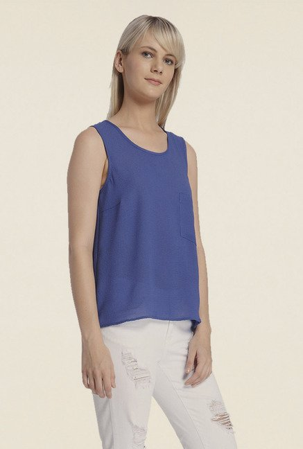 Vero Moda Blue Solid T-shirt