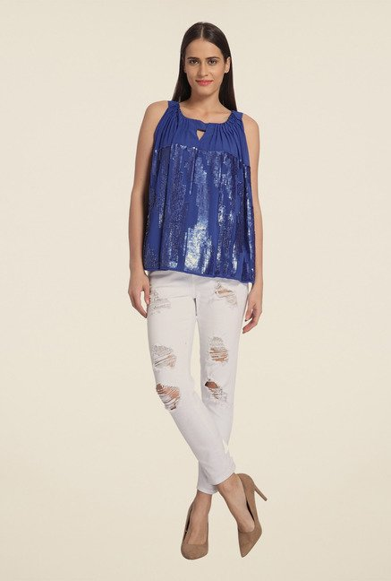 Vero Moda Blue Embellished Top