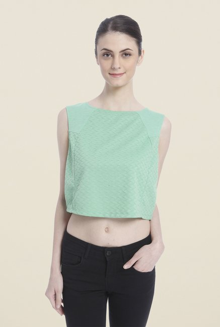 Vero Moda Green Self Crop Top