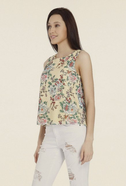 Vero Moda Yellow Floral Print Top
