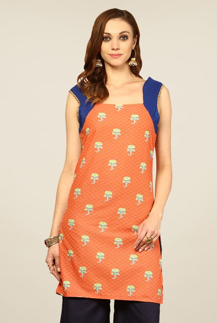 Yepme Orange Jenna Printed Kurti