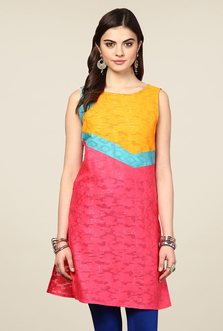 Yepme Redecca Pink & Yellow Color Block Kurti