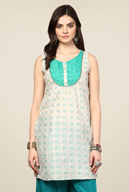 Yepme Kimberly Off-white & Green Printed Kurti