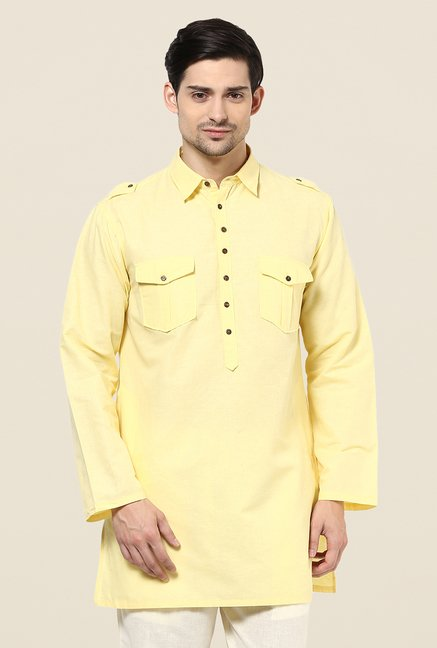 Yepme Bret Light Yellow Solid Kurta