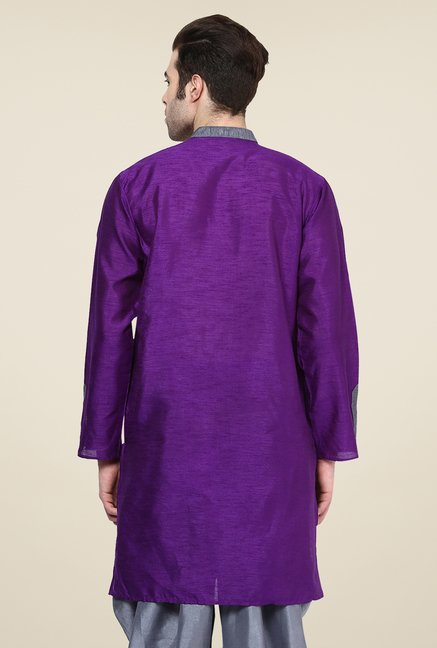 Yepme Markus Purple & Grey Solid Kurta