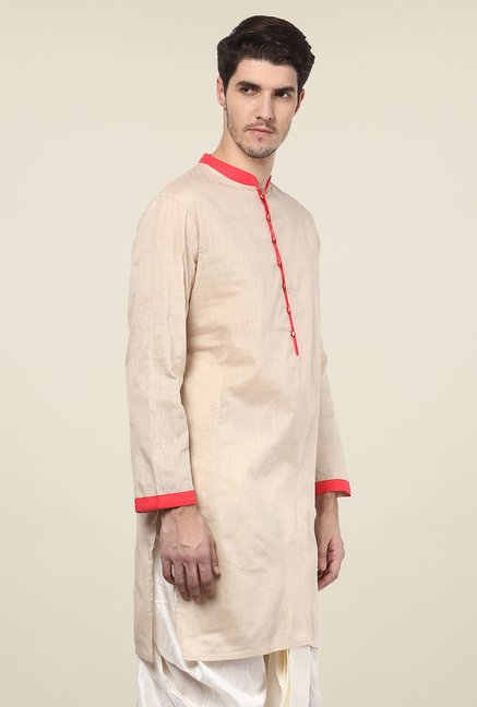 Yepme Alexus Beige & Orange Solid Kurta