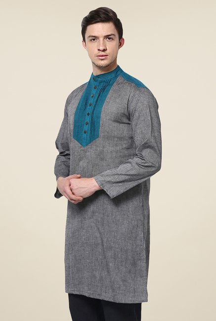 Yepme Louis Grey & Blue Solid Kurta