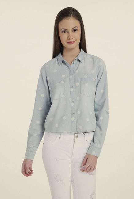Only Light Blue Polka Dot Shirt