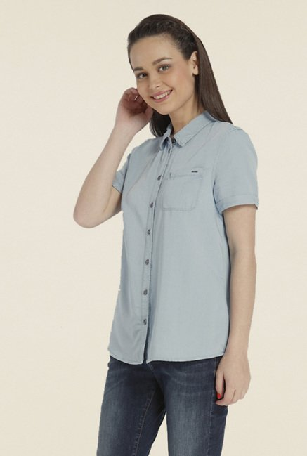 Only Light Blue Solid Shirt