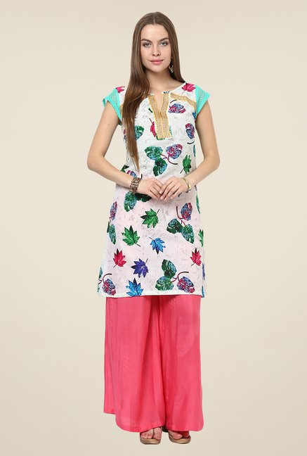 Yepme Antonia Off-white & Green Leaf Print Kurti