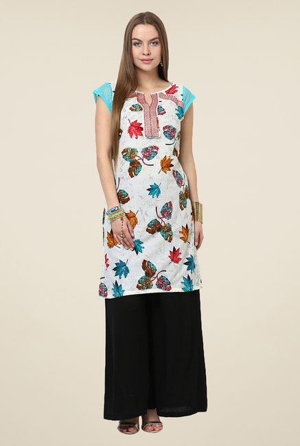 Yepme Antonia Off-white & Blue Leaf Print Kurti