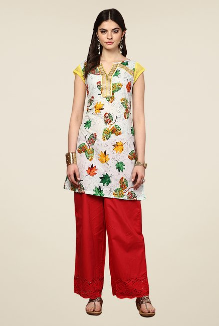 Yepme Antonia Off-white & Yellow Leaf Print Kurti