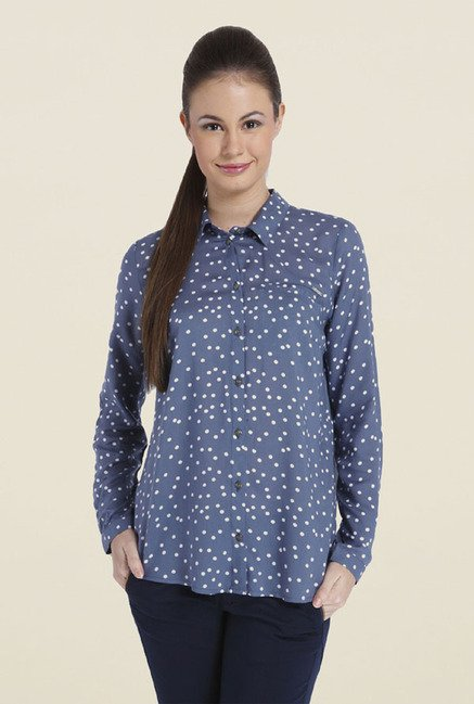 Only Blue Polka Dot Shirt