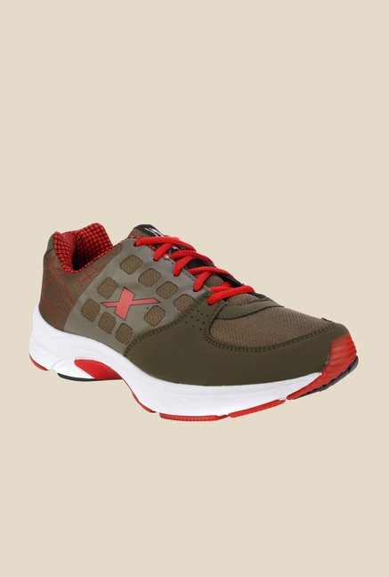 Sparx Olive & Red Running Shoes