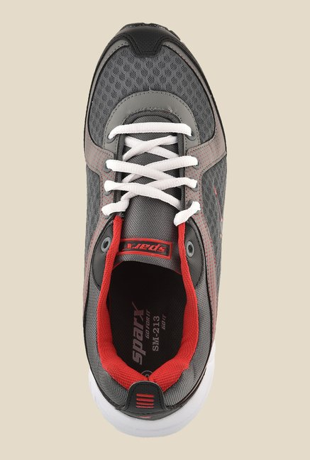 Sparx Dark Grey & Red Running Shoes