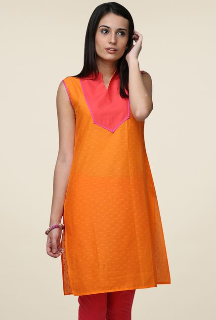 Yepme Orange Wendy Printed Kurti