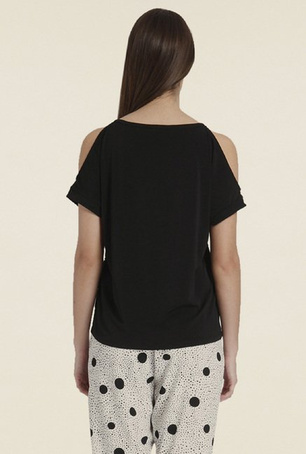 Only Black Solid Short-sleeved Top