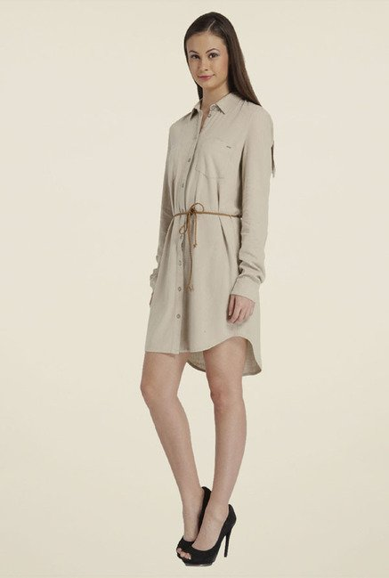 Only Beige Solid Dress