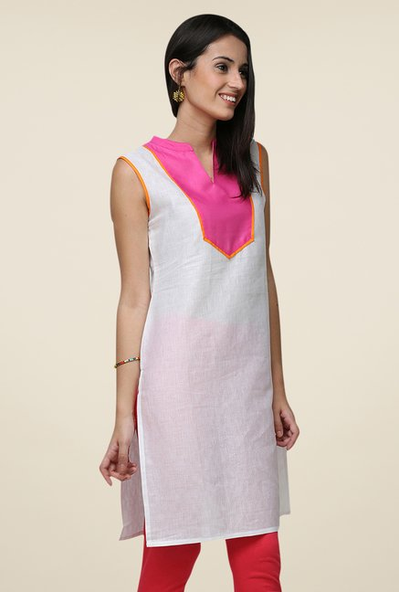 Yepme White Wendy Solid Sleeveless Kurti