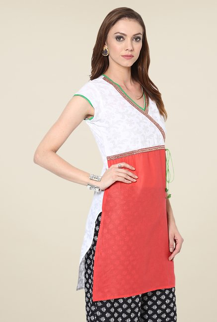 Yepme Red & White Shyra Angrakha Cap-sleeved Kurti